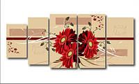 """Модульная картина """"Букет красных цветов""""  (800х1880 мм)  [5 модулей]"""