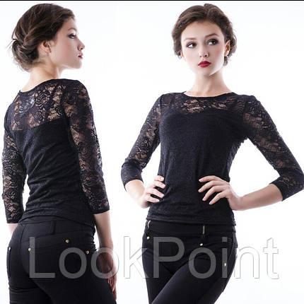 Женская гипюровая стрейч блузка №108, фото 2