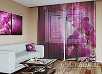 """ФотоТюль """"сливовая орхидея"""" (2,5м*3,0м, на длину карниза 2,0м)"""