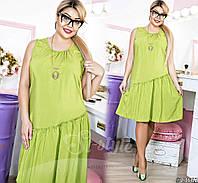 Стильное повседневное платье-сарафан батал