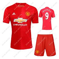 Футбольная форма детская Манчестер Юнайтед, Ибрагимович №9. Основная форма 2017