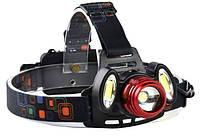 Фонарь налобный аккумуляторный 2в1 YT-1500