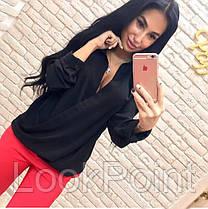 Женская шифоновая блузка с вырезом №3, фото 3