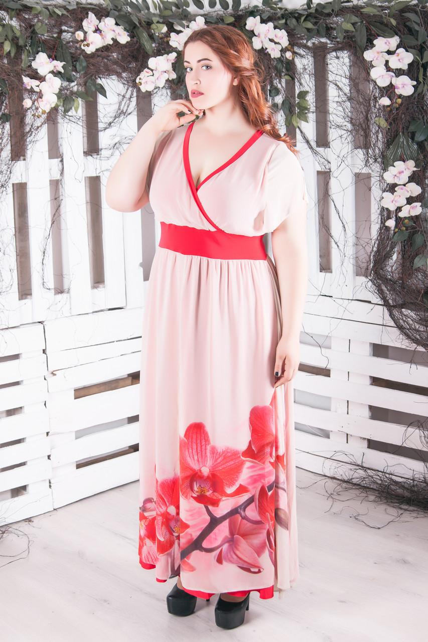 """Нарядное длинное платье в пол """"Джози"""" большого размера"""