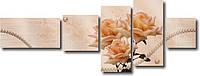 """Модульная картина """"Букет чайных роз с жемчугом""""  (600х1630 мм)  [5 модулей]"""