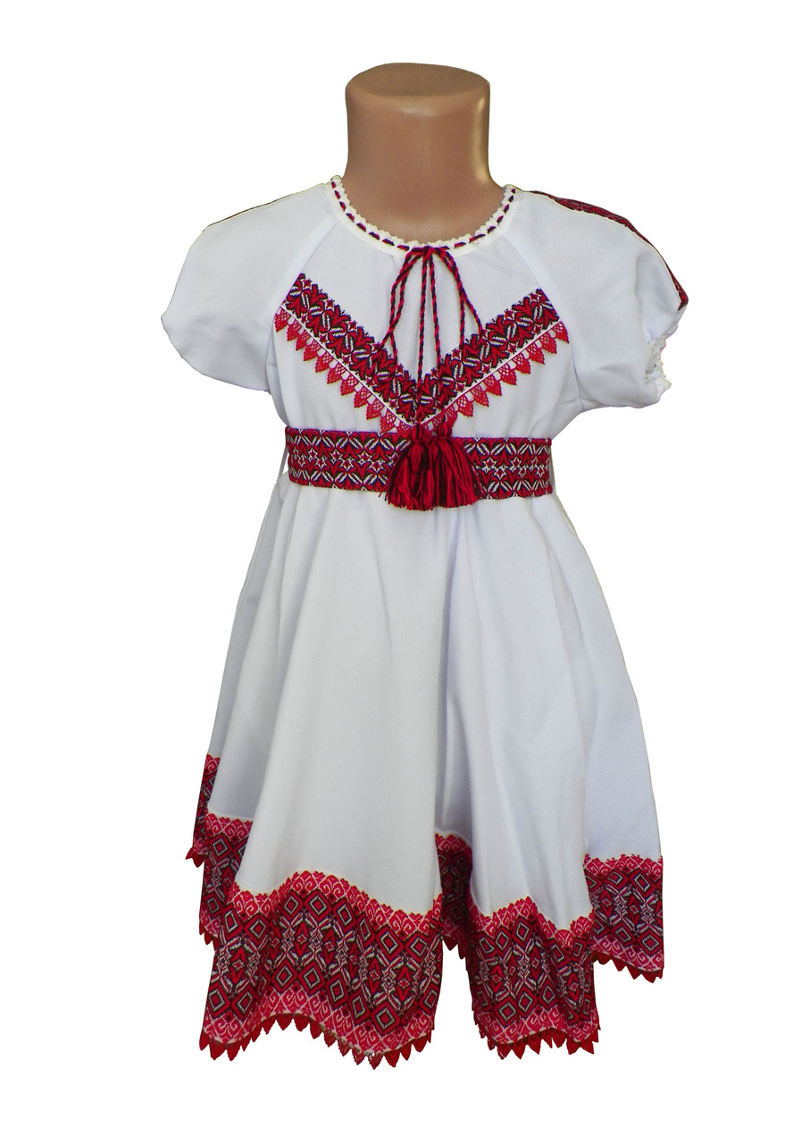Платье-вышиванка для девочки с домотканого полотна с короткими рукавами