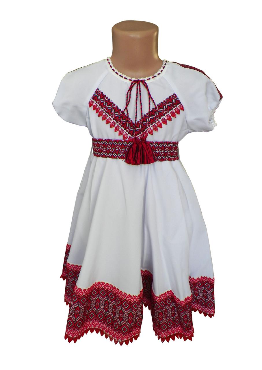 Сукня-вишиванка для дівчинки на домотканому полотні із короткими рукавами