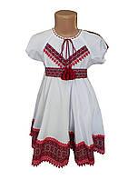 Платье-вышиванка для девочки с домотканого полотна с короткими рукавами, фото 1