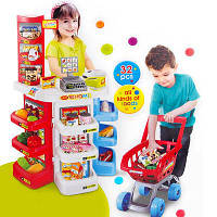 Игровой набор магазин 668-20: прилавок, касса, сканер, тележка, светозвуковые эффекты, пластик, 32 детали