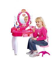Детское трюмо с зеркалом 661-22, фен, косметика, украшения, стульчик, 66*56*9см, свет, звук