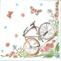 Салфетки бумажные с рисунком  Бабочки и велосипед  Польша 33*33см