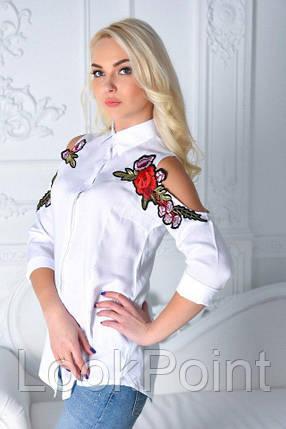 Женская рубашка однотонная с вышивкой №1030, фото 2