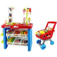 Детский магазин игрушечный 668-22, прилавок, сканер, продукты, тележка, свет, звук, пластик, 2+