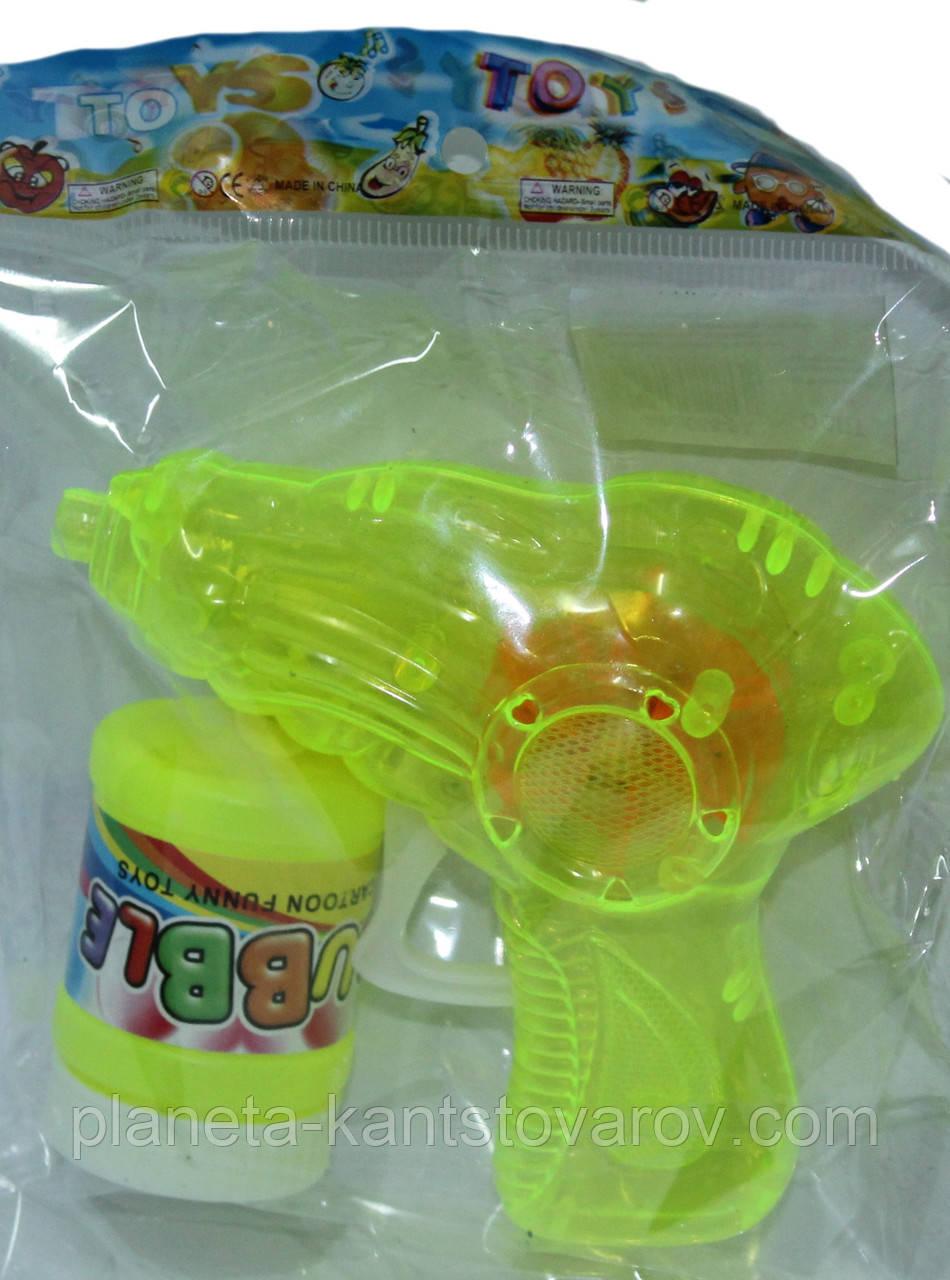 """Мильні бульбашки механічний пістолет зі світлом + мильна рідина 668-9 """"Пістолетик"""""""
