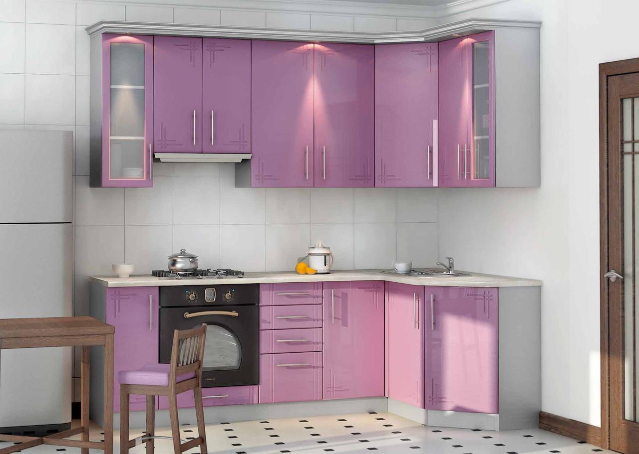 Сиреневая кухня на заказ изготовление, вариант-022 глянцевые мдф фасады