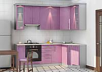 Сиреневая кухня на заказ изготовление, вариант-022 глянцевые мдф фасады, фото 1