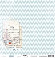Бумага односторонняя 30х30см Кораблик Море от Scrapmir , 1 шт