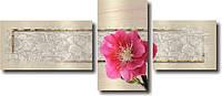 """Модульная картина """"Один розовый цветок""""  (550х1290 мм)  [3 модуля]"""