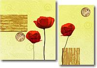 """Модульная картина """"Маки (диптих)""""  (650х930 мм)  [2 модуля]"""