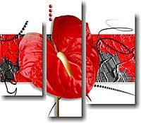 "Модульная картина ""Большой алый цветок""  (830х960 мм)  [3 модуля]"