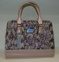 Женская сумка летняя расцветка пудра с золотистым принтом