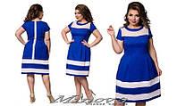 Платье женское стрейч-лён комбинировано с сеткой  раз. 42-56