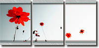 """Модульная картина """"Красные цветы""""  (370х820 мм)  [3 модуля]"""