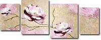 """Модульная картина """"Ветка с розовыми цветами""""  (500х1260 мм)  [4 модуля]"""