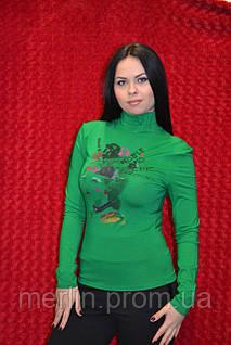 Зелёная женская водолазка