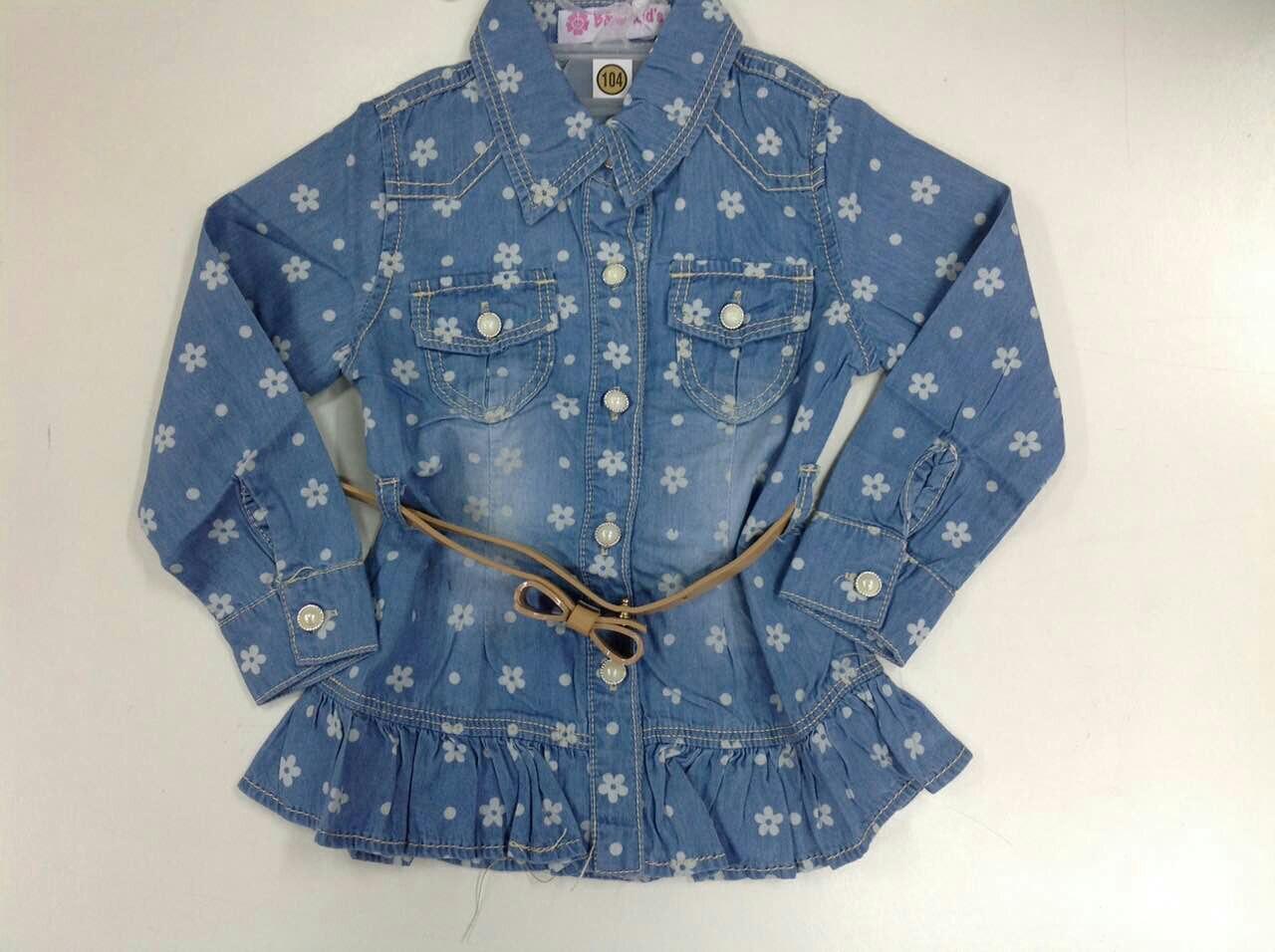 Рубашка джинсовая для девочек с ремешком