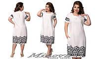 Легкое летнее платье короткий рукав лен размеры 50-56