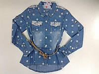 Рубашка джинсовая для девочек в горошек