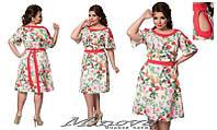 Платье женское нарядное летнее креп-костюмка цветочный принт размеры 4- 56