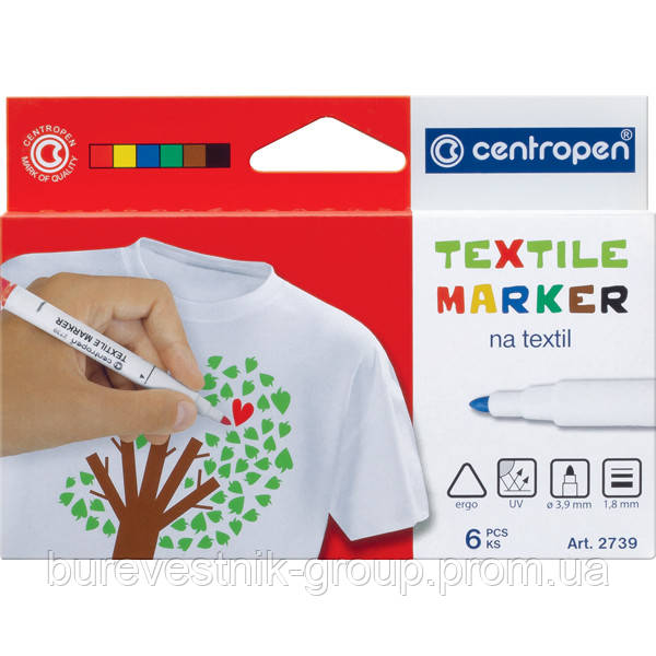 Набор маркеров для ткани Centropen Textile 6цв. (2739.6)
