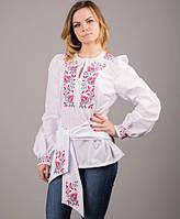 """Изысканая белая женская блуза с розовой вышивкой """"Дикая роза"""""""