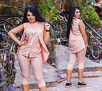 Женский стильный летний костюм (бриджи+блузка-обманка) 1126 / батал / в расцветках
