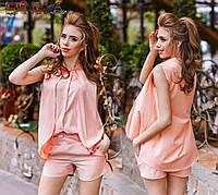 Женский стильный летний костюм (шорты+блузка-обманка) 1132 / в расцветках
