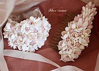 """""""Топлёное молоко""""(браслет+гребень). Авторский комплект свадебных украшений ручной работы, фото 1"""