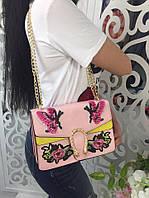 Модная женская сумка-клатч на цепочке с вышивкой фабричный Китай цвет розовый