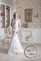 Свадебное платье рыбка белое с полупрозрачной спинкой