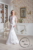 Свадебное платье рыбка белое с полупрозрачной спинкой, фото 1