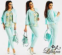 Костюм брючный тройка с блузкой и пиджаком размеры 50,52,54,