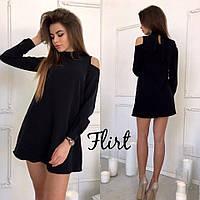 Красивое женское короткое черное платье с открытыми плечами и бантом сзади. Арт-1293/49