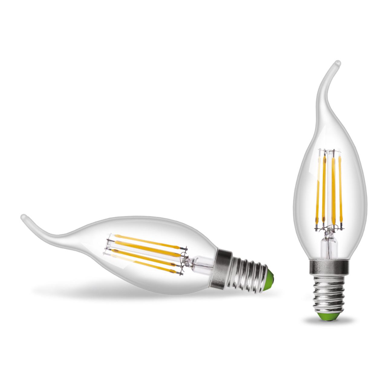 Светодиодная лампа Eurolamp ArtDeco 4W E14 свеча на ветру Filament