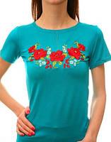 Женская бирюзовая вышитая гладью футболка