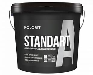 "Краска акриловая KOLORIT STANDART A фасадная  база ""LА""-белая 9л"