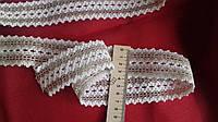Тесьма хлопковая отделочная (45 мм) бело-серая