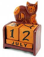 """Календарь настольный """"Кот"""" дерево коричневый (14х10х5 см)"""