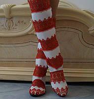 Стильные высокие красно-белые женские кружевные сапоги