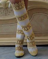 Стильные высокие желто-белые женские кружевные сапоги